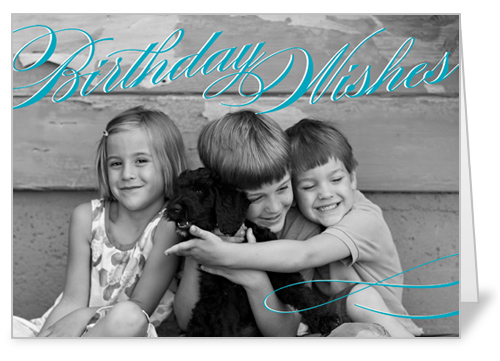 Vintage Wishes Teal Birthday Card by Float Paperie
