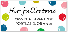 merry and bright dots address label