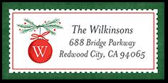 hanging monogram ornament address label