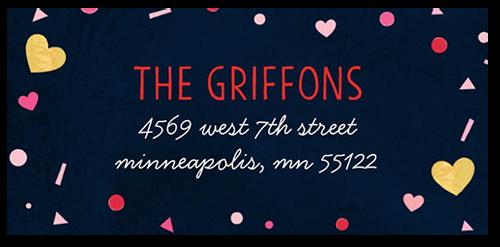 Hearts Confetti Address Label