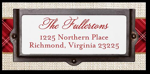 Plaid Border Greeting Address Label