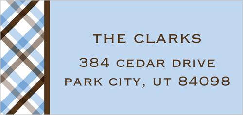 Cocoa Plaid Address Label