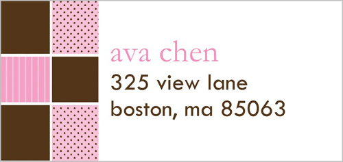 Hopscotch Time Pink Address Label