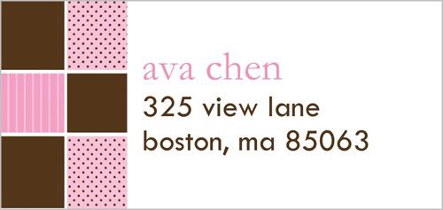 Hopscotch Time Pink Address Label