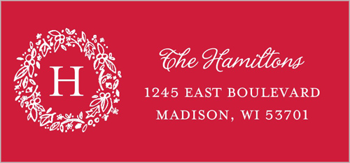 Wreathed Monogram Wishes Address Label