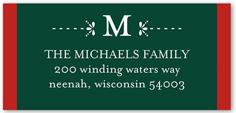 leaf monogram address label