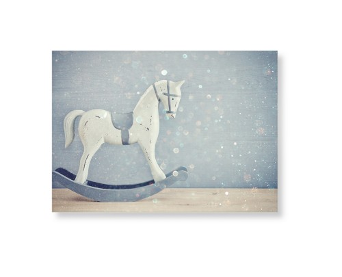 Wooden Rocking Horse Art Print, None, Pearl Shimmer Card Stock, 5x7, Multicolor