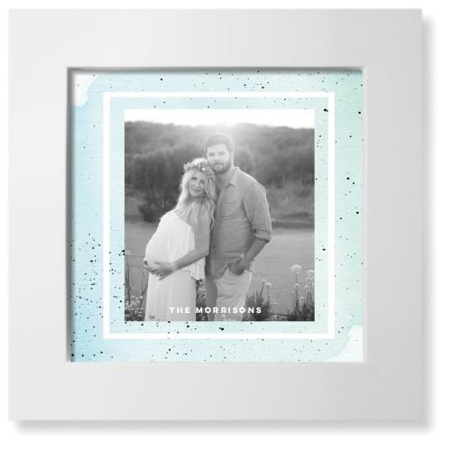 Splatters Art Print, White, Pearl Shimmer Card Stock, 8x8, Blue