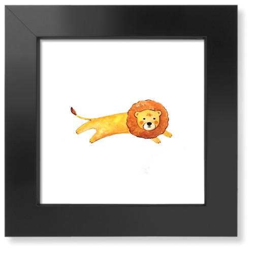 Lion Watercolor Art Print, Black, Pearl Shimmer Card Stock, 8x8, Multicolor