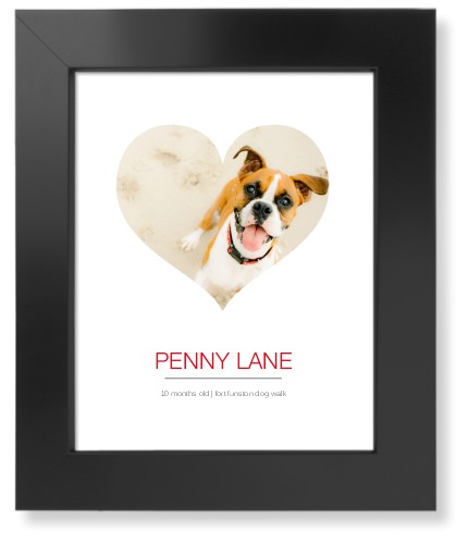 Modern Heart Art Print, Black, Pearl Shimmer Card Stock, 8x10, White