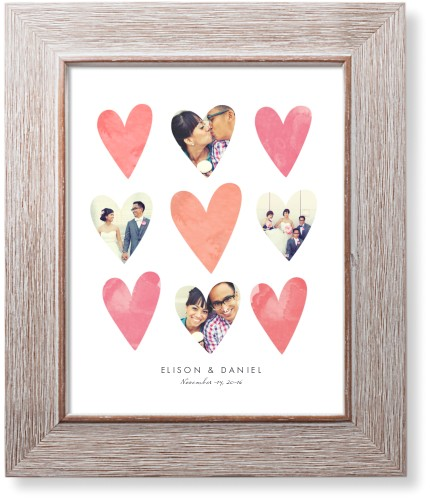 Heart Collage Art Print, Rustic, Signature Card Stock, 8x10, Pink