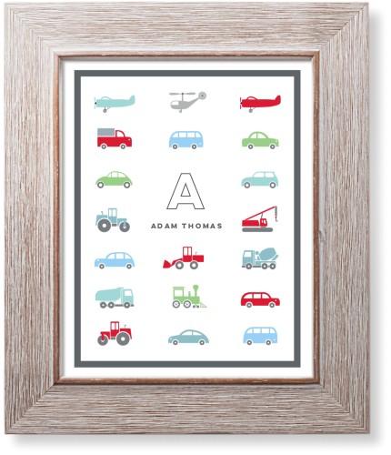 Transportation Car Border Art Print, Rustic, Signature Card Stock, 8x10, Red