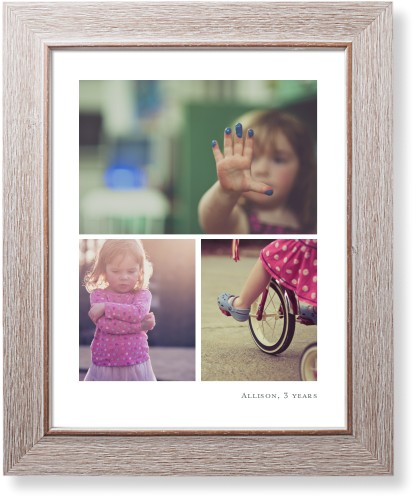 Three Prints Collage Art Print, Rustic, Pearl Shimmer Card Stock, 11x14, White