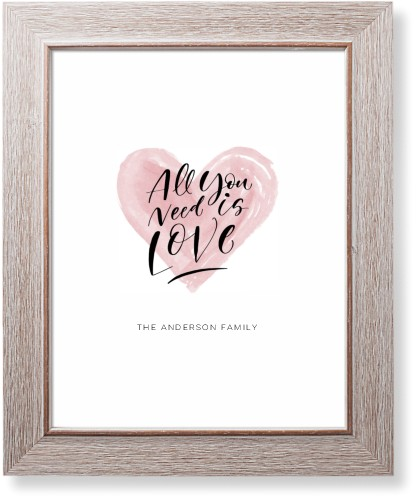 All You Need Is Love Watercolor Art Print, Rustic, Signature Card Stock, 11x14, White