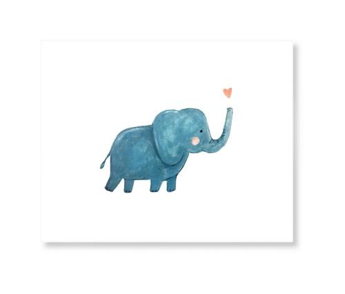 Elephant Watercolor Art Print, None, Signature Card Stock, 11x14, Multicolor
