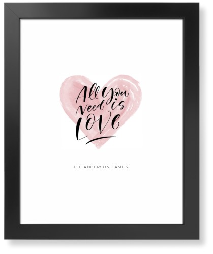 All You Need Is Love Watercolor Art Print, Black, Signature Card Stock, 16x20, White
