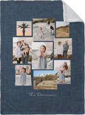 gallery collage of nine fleece photo blanket