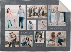 family love blessed collage fleece photo blanket