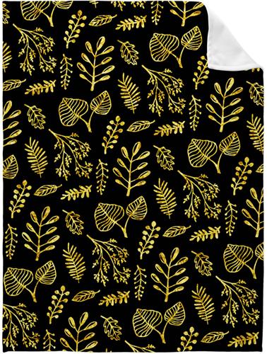 Black Floral Fleece Photo Blanket, Fleece, 50 x 60, Multicolor
