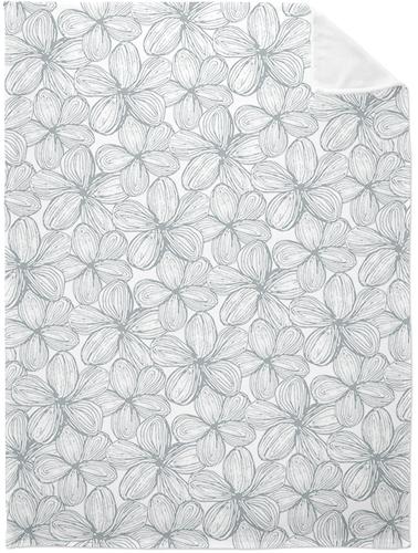 Grey Floral Fleece Photo Blanket