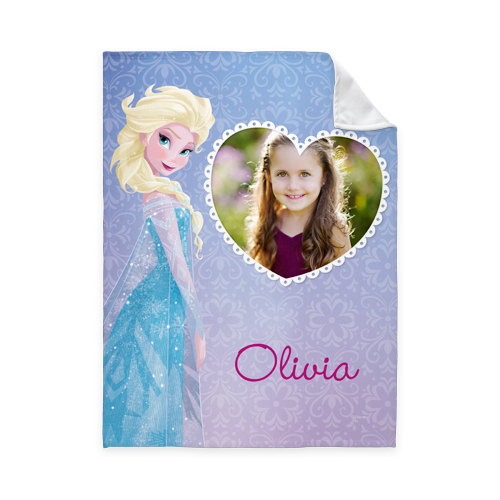 Disney Frozen Elsa Fleece Photo Blanket, Fleece, 50 x 60, Purple