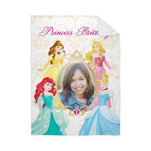 Disney Princesses Fleece Photo Blanket, Plush Fleece, 50 x 60, Yellow