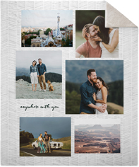 gallery collage of six portrait fleece photo blanket