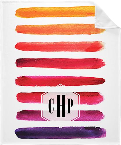 Hand Painted Stripes Fleece Photo Blanket