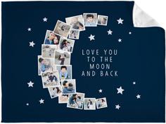 to the moon collage fleece photo blanket