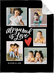 love script collage fleece photo blanket
