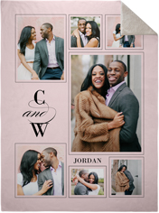 couple monogram vertical collage fleece photo blanket
