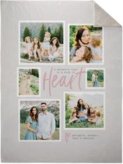 center heart fleece photo blanket