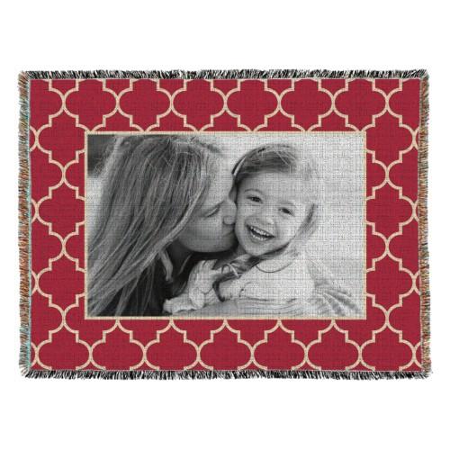 Quatrefoil Frame Woven Photo Blanket, 54 x 70, Red