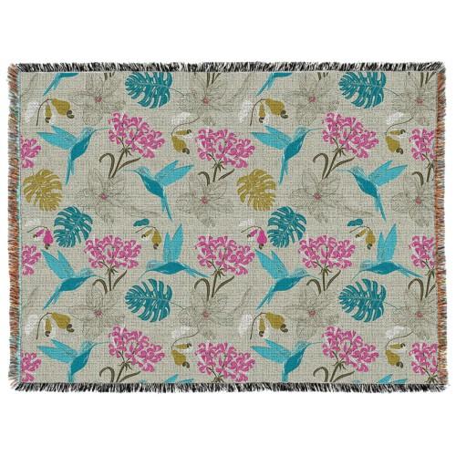 Hummingbird Woven Photo Blanket, 60 x 80, Multicolor