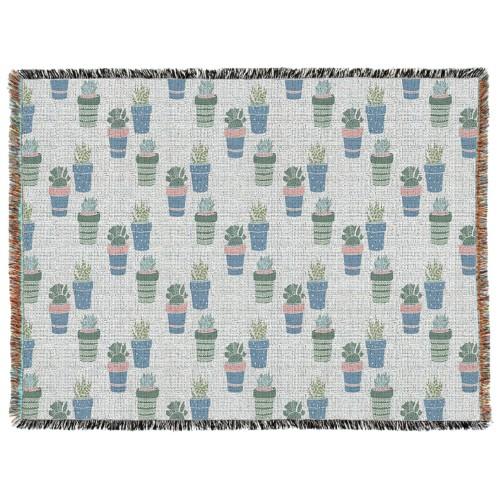 Multi Succulent Woven Photo Blanket, 60 x 80, Multicolor