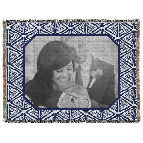 Tribal Frame Woven Photo Blanket, 60 x 80, Blue