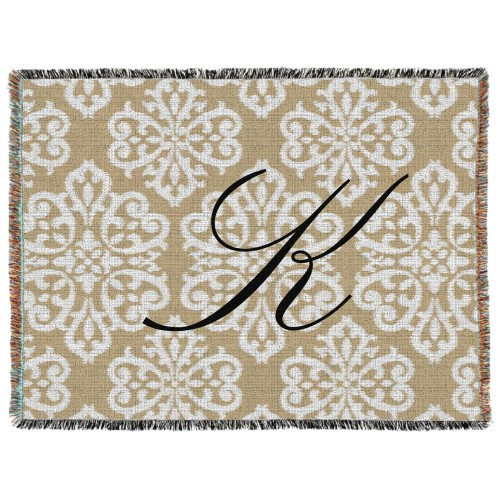 Damask Monogram Woven Photo Blanket, 60 x 80, Beige
