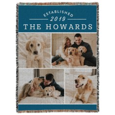 established family woven photo blanket