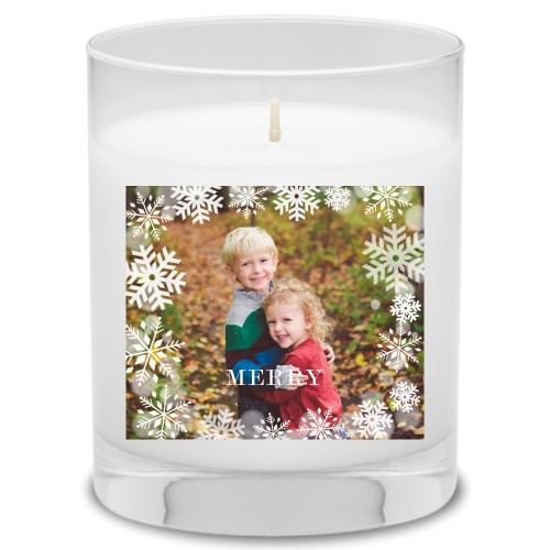 Bokeh Snowflakes Candle, Grapefruit Blossom, White