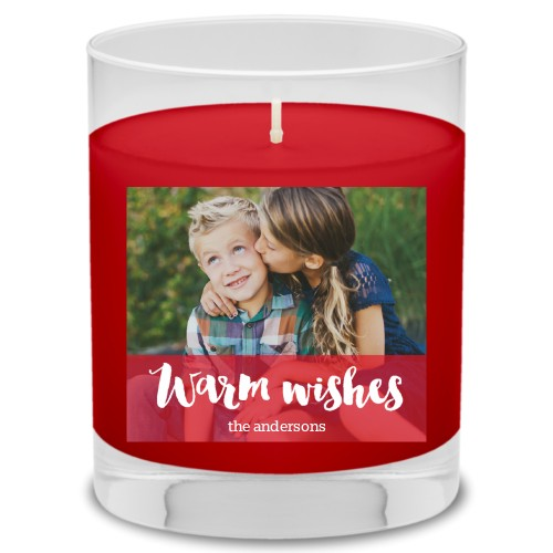 Warm Wishes Candle, Fireside Spice, Red