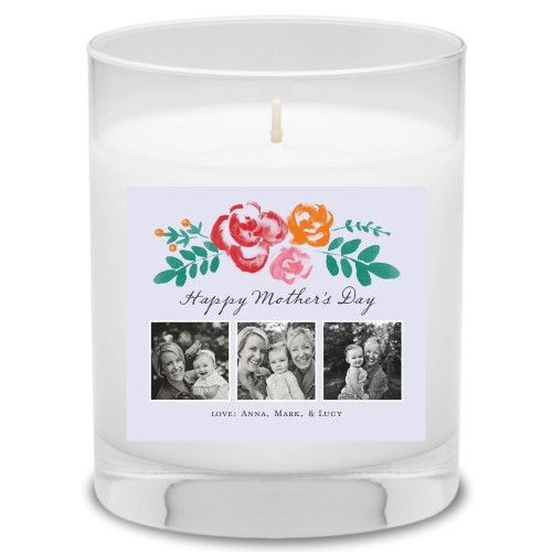 Hand Drawn Floral Candle, Ocean Breeze, Grey