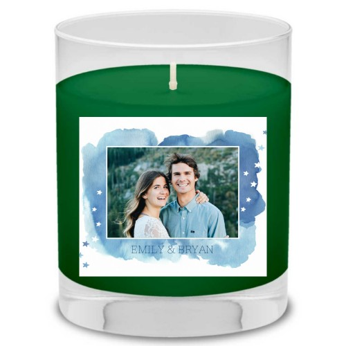 Brushed Watercolor Stars Candle, Evergreen Forest, Blue