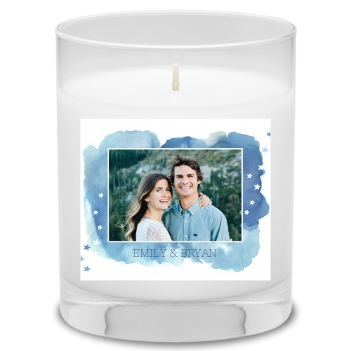 Brushed Watercolor Stars Candle, Garden Bouquet, Blue