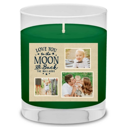 To The Moon and Back Script Candle, Evergreen Forest, Blue