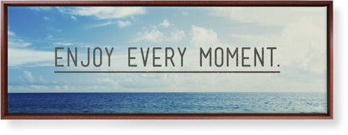 Enjoy Every Moment Canvas Print, Brown, Single piece, 12 x 36 inches, Black