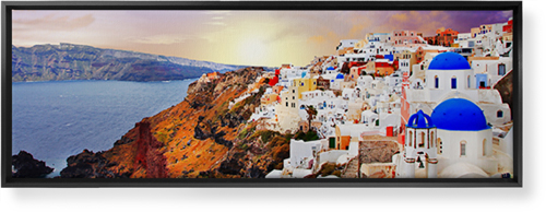 Sunset in Santorini Greece Canvas Print, Black, Single piece, 12 x 36 inches, Multicolor