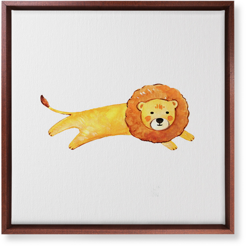 Lion Watercolor Canvas Print, CANVAS_FRAME_BROWN, Single piece, 16 x 16 inches, Multicolor