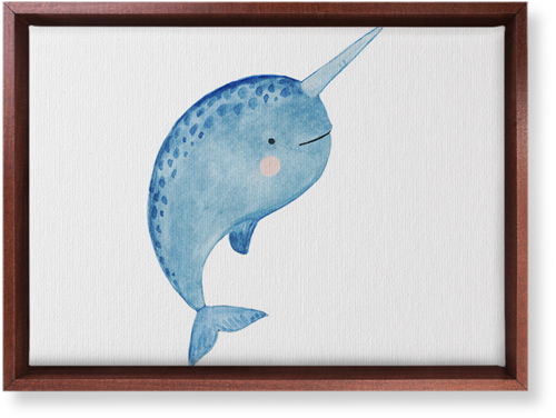 Narwhal Watercolor Canvas Print, CANVAS_FRAME_BROWN, Single piece, 10 x 14 inches, Multicolor