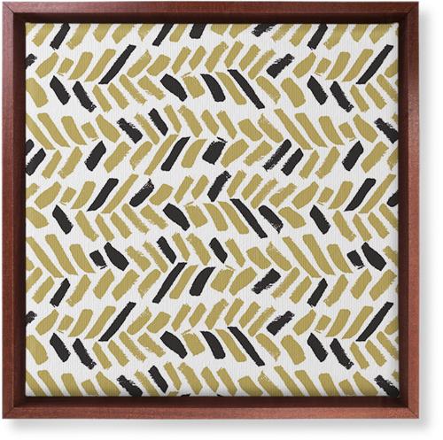 Herringbone Brushstroke Canvas Print, Brown, Single piece, 12 x 12 inches, Multicolor