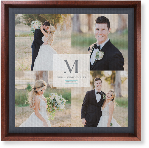 Classic Initial Wedding Canvas Print, CANVAS_FRAME_BROWN, Single piece, 12 x 12 inches, White